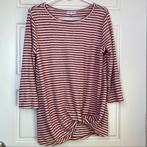 THYME & HONEY BRUSHED STRIPE KNOT FRONT KNIT M